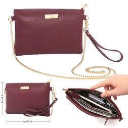 Aitbags Leather Wristlet Crossbody Bag with Chain Strap Cell