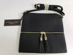 Deluxity Los Angeles Hobo Crossbody Bag Purse with Tassel Bl