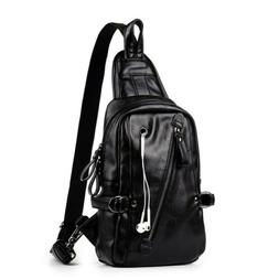 Men's Leather Crossbody Shoulder Chest Cycle Sling Bags Satc