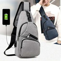 2879f1e28 Men's Shoulder Bag Sling Chest Pack Canvas USB Charging Spor