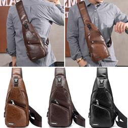 Men's Shoulder Bag Sling Chest Pack PU Leather USB Charging