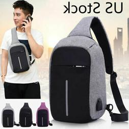 Men's Sling Bag With USB Charging Chest Pack Crossbody Shoul