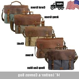 Men's Vintage Leather Canvas 14''Laptop Schoolbag Satchel Sh