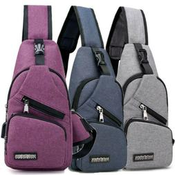 Men Women Nylon Sling Bag Backpack Crossbody Shoulder Chest