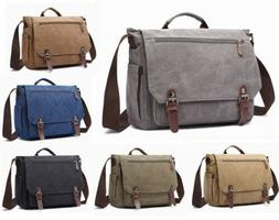 "Mens Canvas Briefcase 15"" Laptop Bag vintage Shoulder Crossb"
