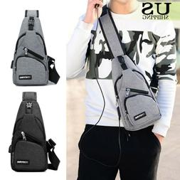 Mens Sling Bag Chest Pack Travel Backpack Crossbody Bag + US