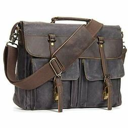 Messenger Bag 15.6'' Laptop Waterproof Waxed Canvas Leather