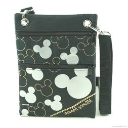 Mickey Mouse Silhouette Neck Pouch Wallet Small Black Travel