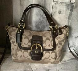 Coach Mini Bag Crossbody Khaki Brown Signature Tote Converti