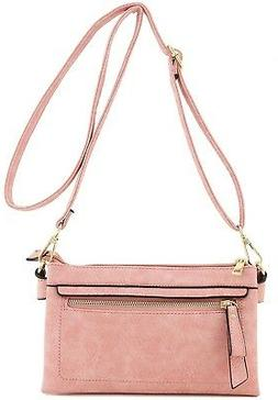 Multi Compartment Wristlet Clutch Crossbody Bag Pink