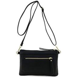 Multi-functional Wristlet Clutch And Crossbody Bag Black