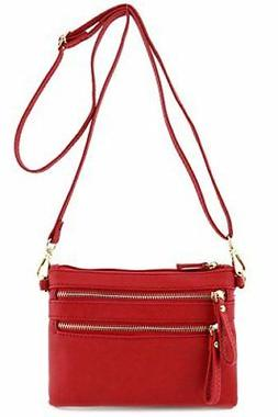 FashionPuzzle Multi Zipper Pocket Small Wristlet Crossbody B