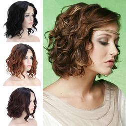 Natural Black Full Head Hair Short Curly Lace Front Wig Heat