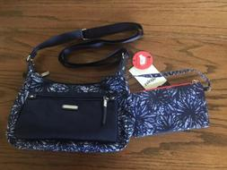 Baggallini Navy/White Splatter Pattern Out and About RFID Cr