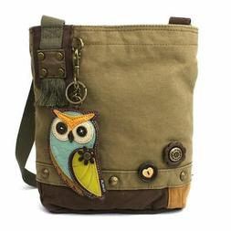 NEW CHALA BLUE OWL OLIVE BROWN CANVAS PATCH CROSSBODY BAG PU