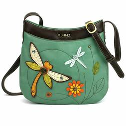NEW CHALA BLUE TEAL DRAGONFLY CRESCENT CROSSBODY TOTE BAG PU