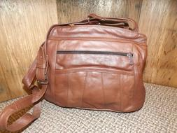 NEW Chocolate Leather 7 Pocket Triple Zip Conceal Carry Cros