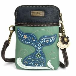 NEW CHALA DAZZLED TEAL MERMAID TAIL CELL PHONE CROSSBODY PUR