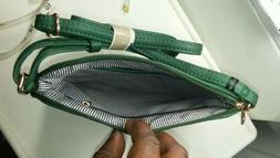 New DELUXITY Genuine Green Leather Womens Crossbody Bag/Purs