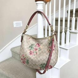 New Coach Elle Lily Floral Printed Canvas Hobo Shoulder Cros