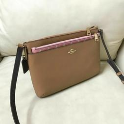 New Coach EW Pop Saddle Blush Leather Crossbody Shoulder Bag