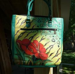 NEW Anuschka Hand Painted Triple Compartment, Large shoulder