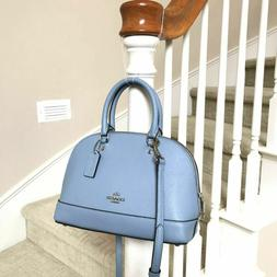 New Coach Mini Sierra Cornflower Blue Leather Crossbody Bag