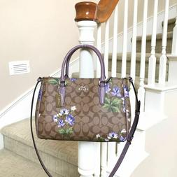 New Coach Navy Floral Printed Leather Elle Hobo Shoulder Cro