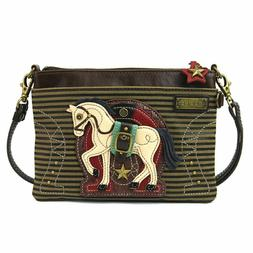 NEW CHALA OLIVE BROWN STRIPE HORSE MINI CROSSBODY CELL PHONE