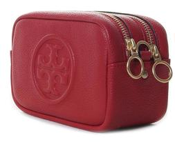 Tory Burch NEW Perry Bombe Mini Red Apple Pebbled Leather Cr