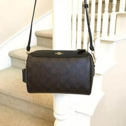 New Coach Signature Crossbody Bennett Brown Black Canvas Lea