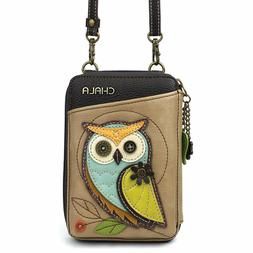 NEW CHALA TAUPE CREAM WHIMSICAL OWL ZIPPERED CROSSBODY WALLE