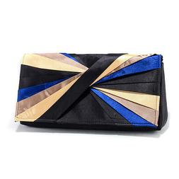 New Women's Pleated Color Wheel Inspired Evening Bag Crossbo