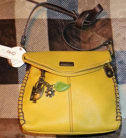 New YELLOW Chala Charming Crossbody Bag Pleather Converts BR