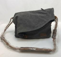 NWOT Tom Clovers Women's Gray Large Fold Over Crossbody Bag