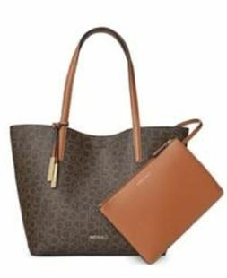 CALVIN KLEIN NWT $178 Leather Reversible Tote with Zip Wrist