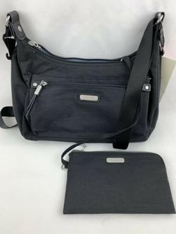 NWT baggallini Black Out and About Crossbody Bag Hobo RFID r