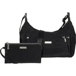 NWT baggallini Black Out and About Crossbody Bag RFID Black