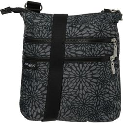 NWT Baggallini Comrade 3-Zip Crossbody, Pewter Floral