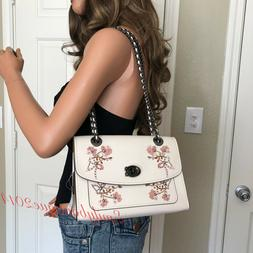 NWT COACH FLORAL PARKER EBOROIDERY CHALK WHITE LEATHER SHOUL