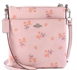 NWT Coach Ice Pink Floral Bow Messenger Signature Crossbody