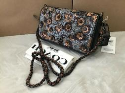 NWT. Coach Leather Sequin Dinky Crossbody Bag Shoulder Bag B