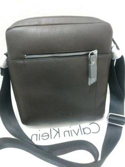 NWT Calvin Klein Mens Pilot Crossbody Soft Leather Chocolate