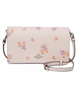 NWT COACH PINK ICE FLORAL & BOW CROSSBODY FOLD OVER CLUTCH B