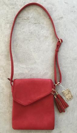 NWT Alyssa Purse Bag Crossbody Vegan Red Tassle Zipper Leopa