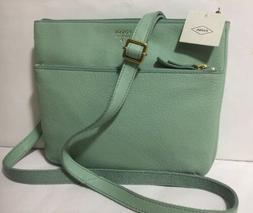 NWT Fossil TINSLEY Pebble Misty Jade Green Leather Crossbody