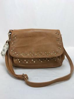 NWT Alyssa Women's Brown Faux Leather Studded Vegan & Lead F