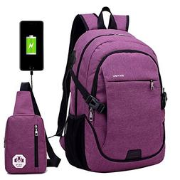 Super Modern Unisex Nylon School Backpack with USB Charger P