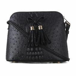 Deluxity Ostrich Pattern Lightweight Medium Dome Crossbody B