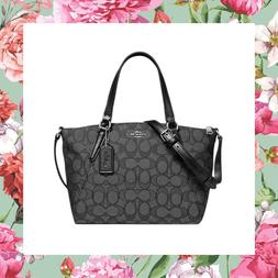COACH Outline Signature Jacquard Mini Kelsey Satchel Crossbo